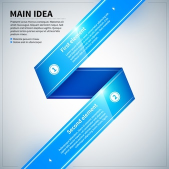 Infographic with glossy texture, ribbon style with two elements