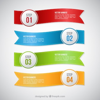 Infographic with ribbon banners