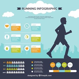 ランナーのシルエットおよび他の要素を有するインフォグラフィック