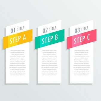 Infographic with three bright steps