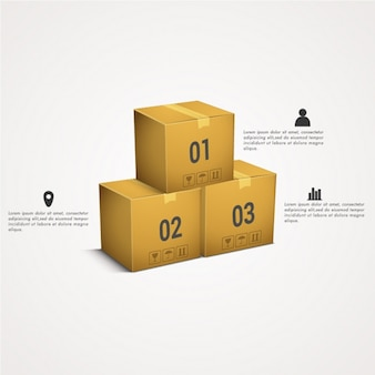 Infographic with three cardboard boxes
