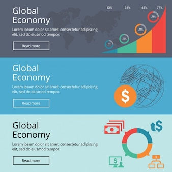 Infographics banners about global economy