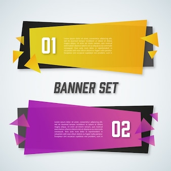 Infographics with 2 polygonal banners