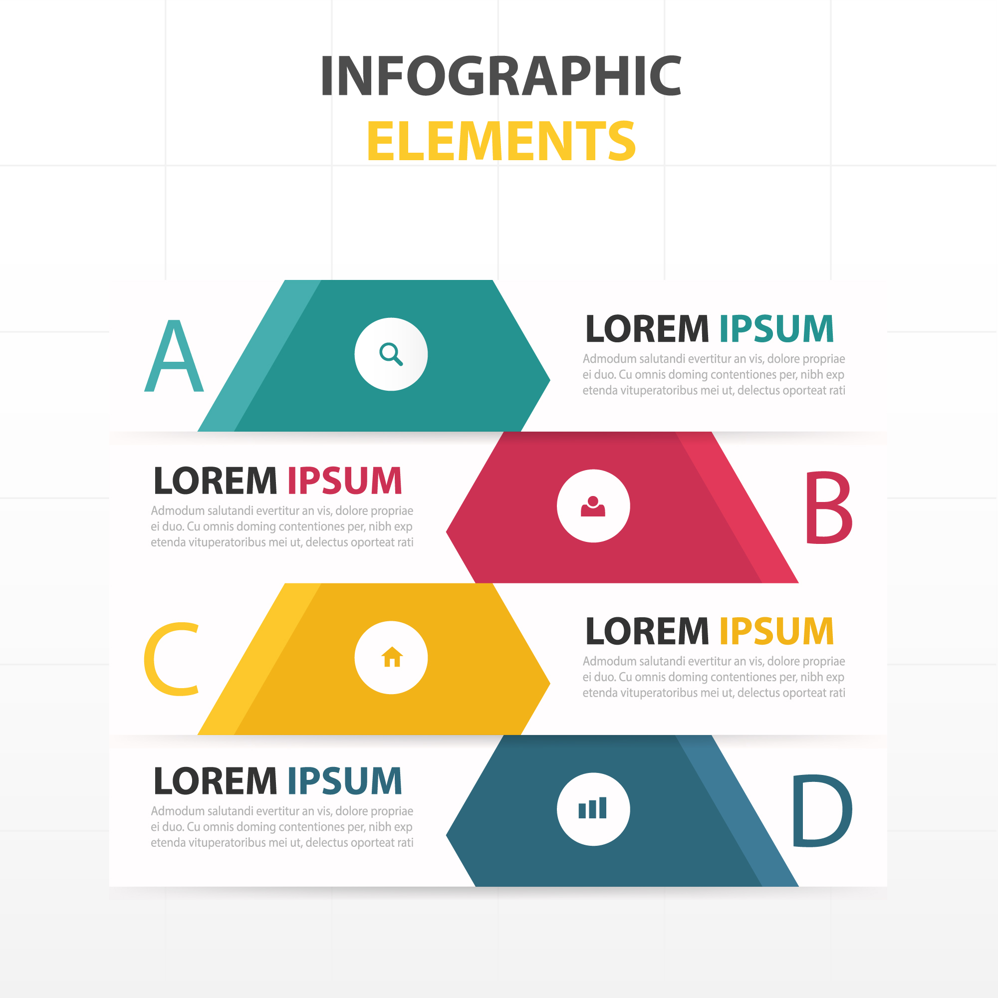 Infographics with 4 different colors
