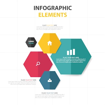 Infographics with colored hexagons
