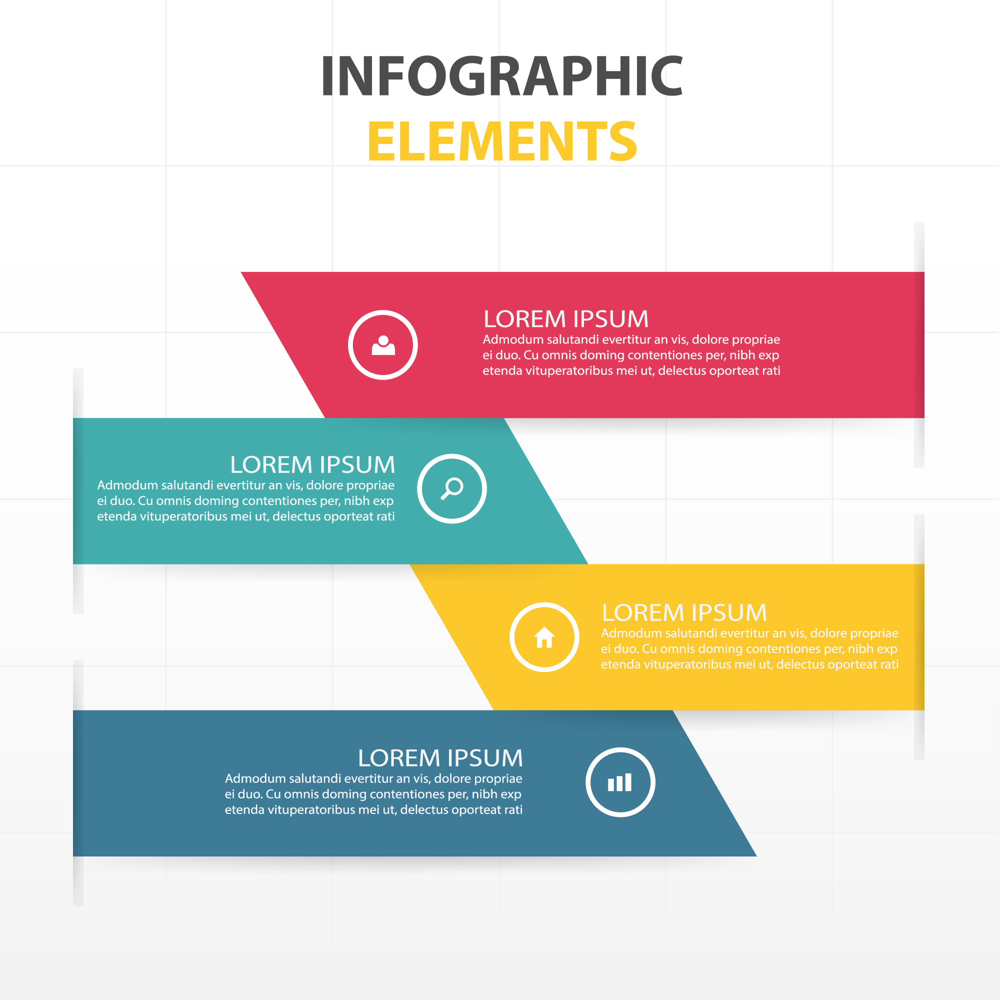 Infographics with colorful banners
