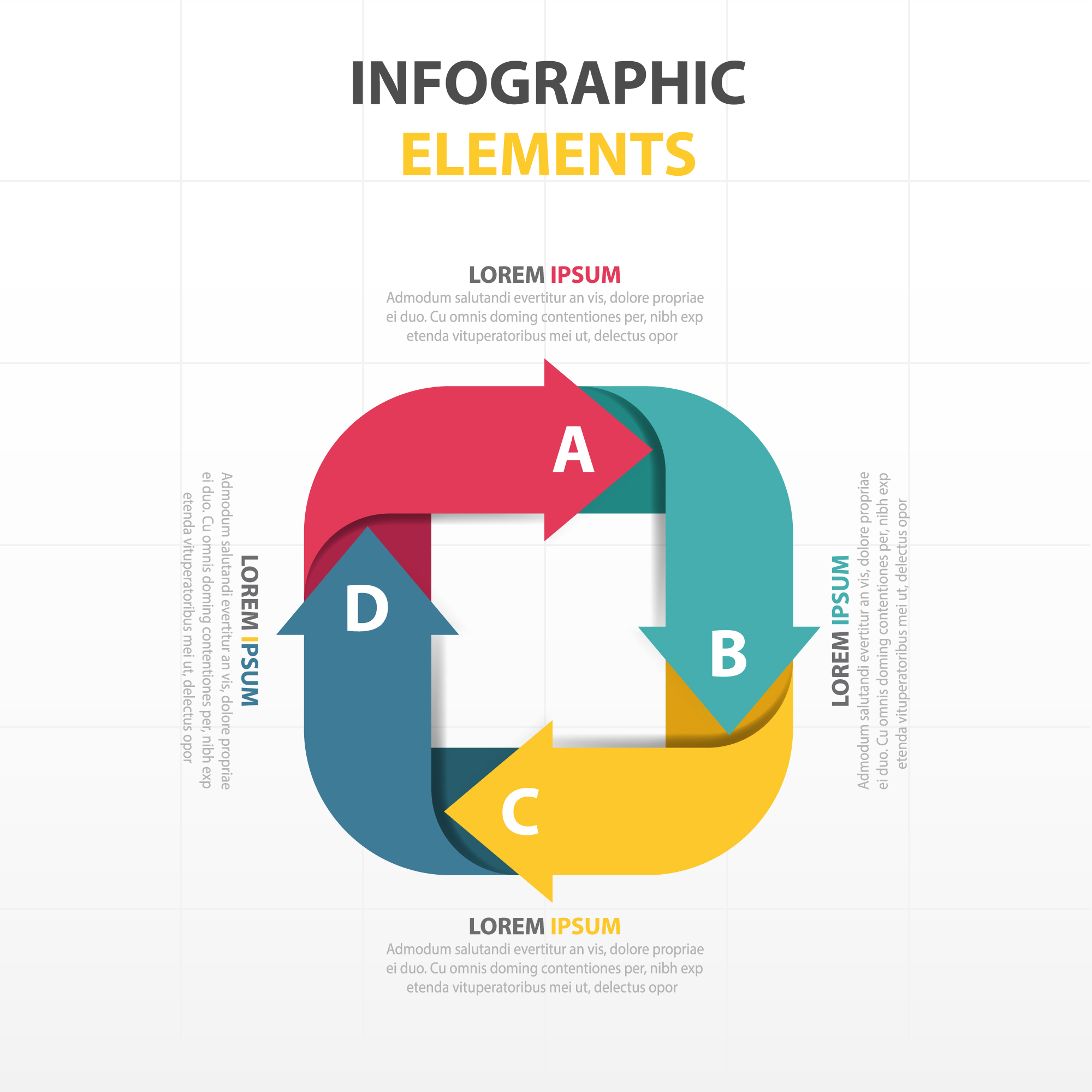 Infographics with four arrows in different colors