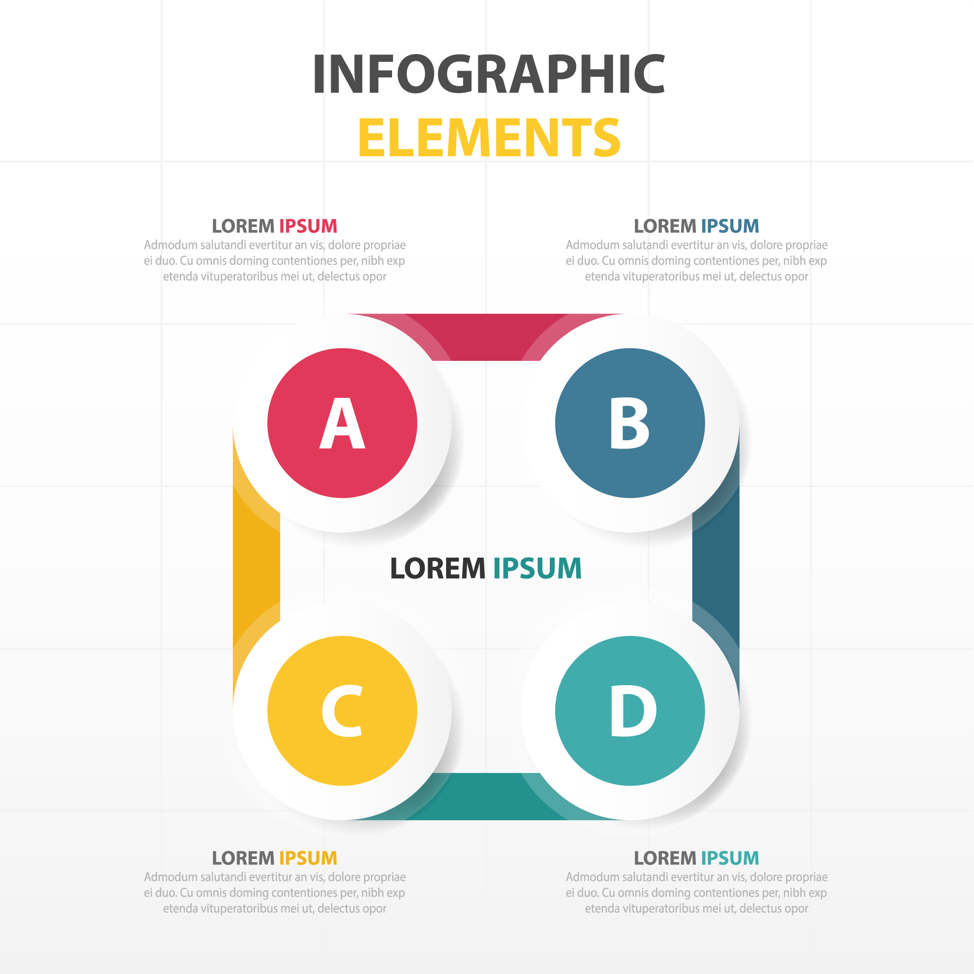 Infographics with four circular options in different colors