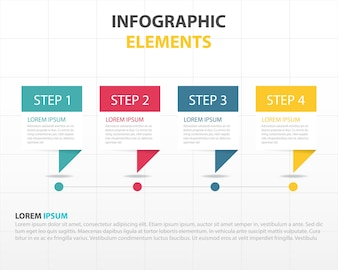 Infographics with four color banners