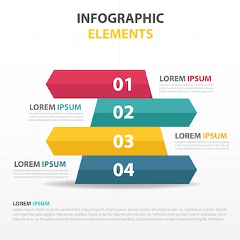 Infographics with pyramidal banners