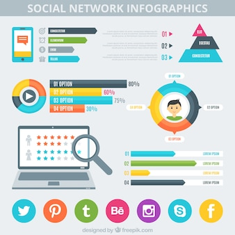 Infographics with social media graphs