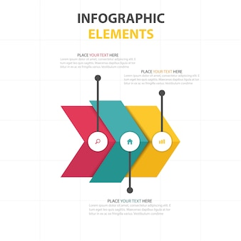 Infographics with three colored arrows