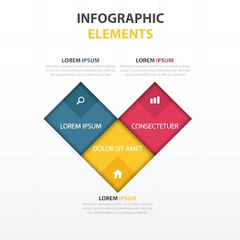 Infographics with three colors, heart shape