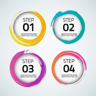 Infography with four circular steps