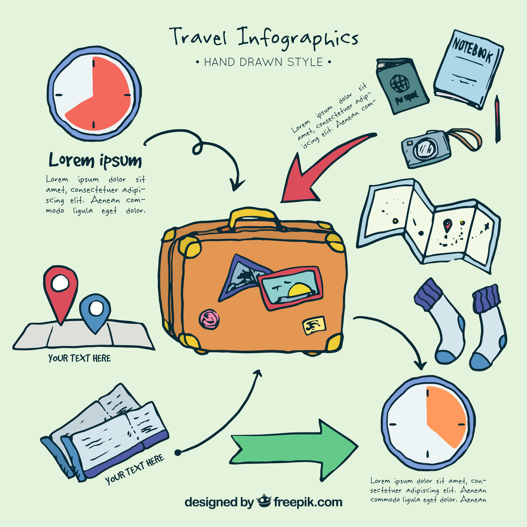 Infography with hand drawn travel elements