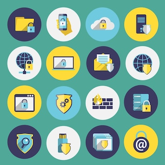 Information technology security flat icons set of computer mobile firewall protection isolated vector illustration