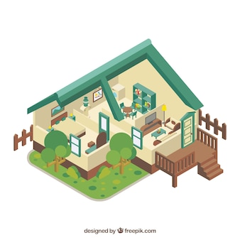 Inside nice home in isometric style