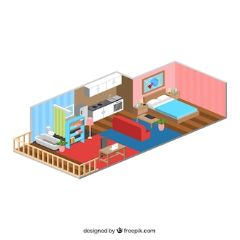 Inside nice home-style isometric