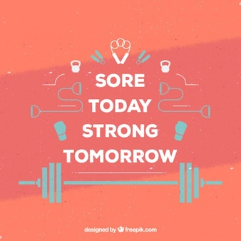 Inspirational quote with flat sporty elements