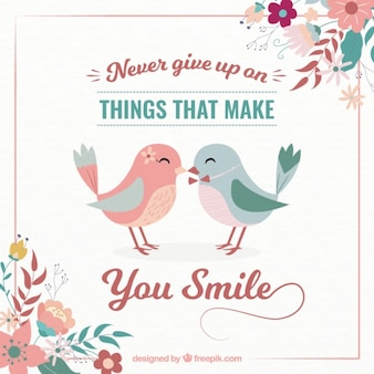 Inspiring quote  never give up  with lovely birds in vintage style