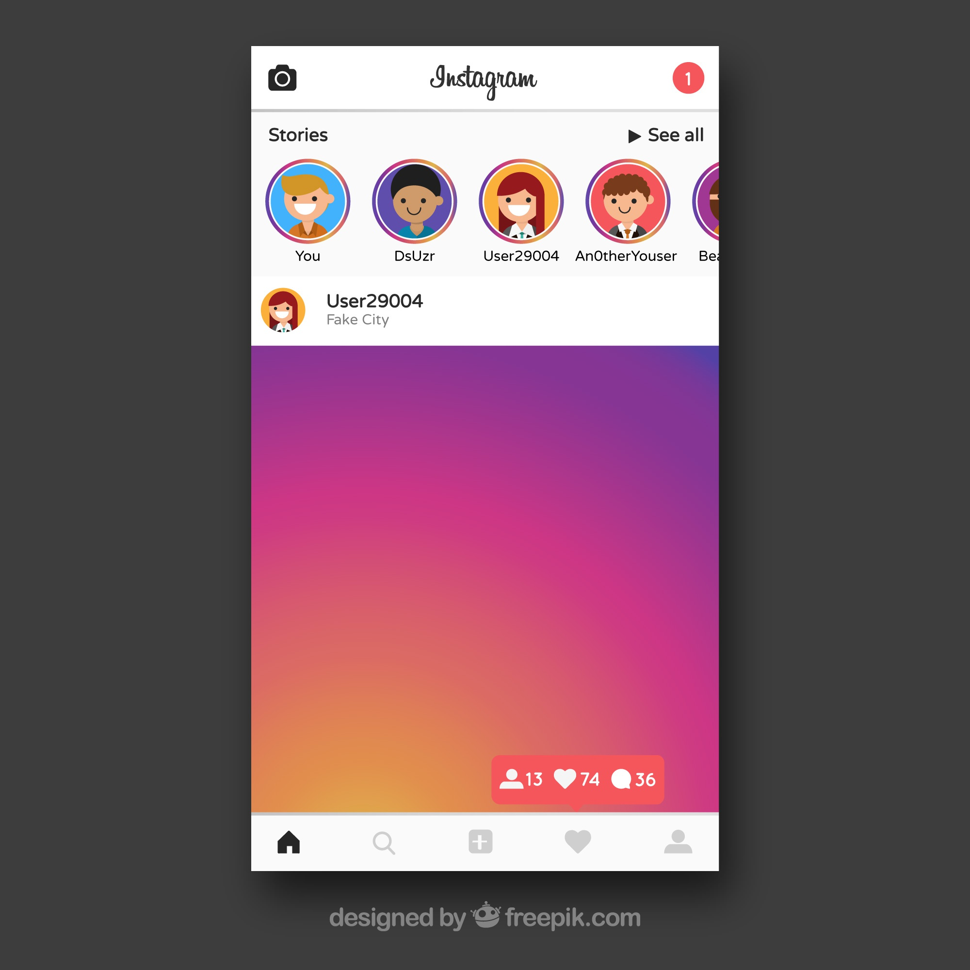Instagram frame with contacts