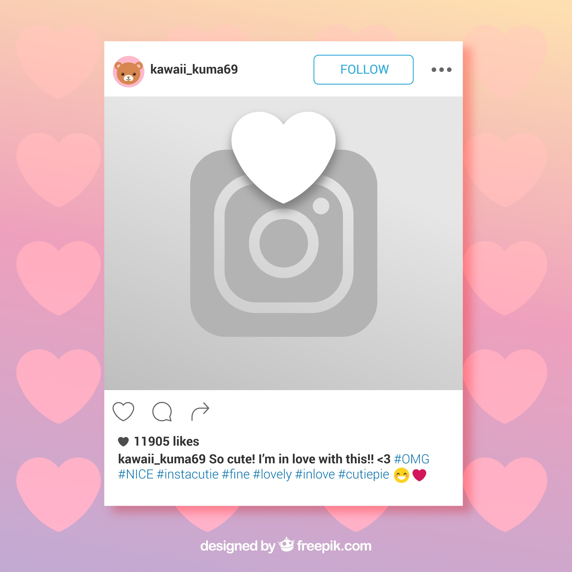 Instagram frame with heart and camera