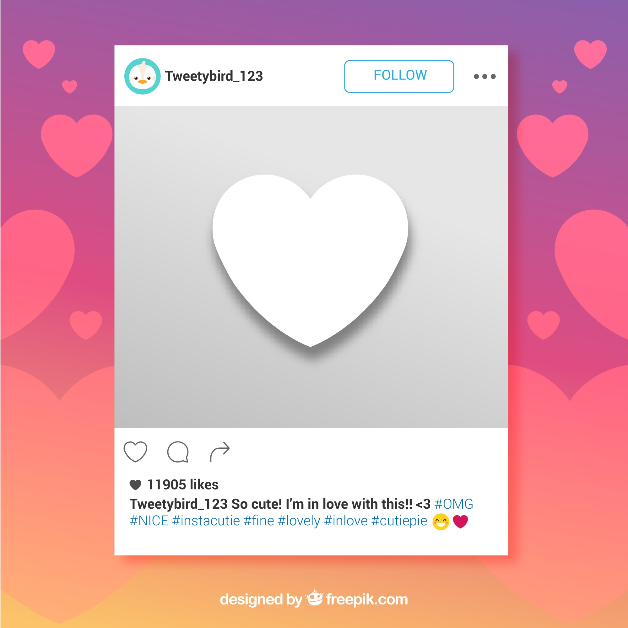 Instagram frame with heart