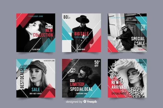 Instagram post collection template with photo