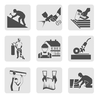 Insurance icons, gray tones