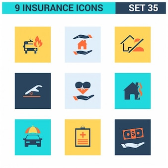 Insurance Square Icons Set