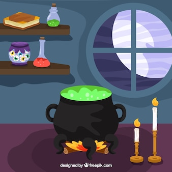 Interior background of house with cauldron