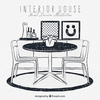 Interior house in hand-drawn style