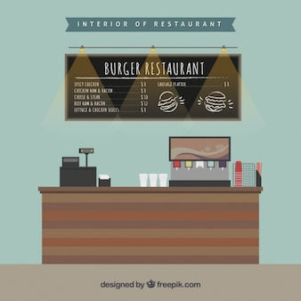 Interior of burger restraurant in flat design