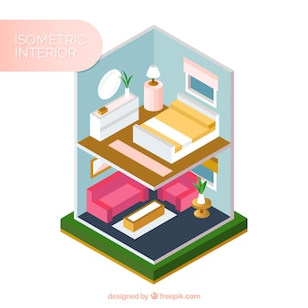 Interior of house in isometric style