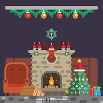 Interior of house with fireplace with christmas decoration