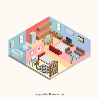 Interior view of house in isometric style