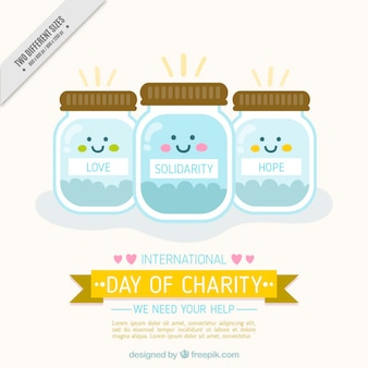 International day of charity background with lovely  money jars
