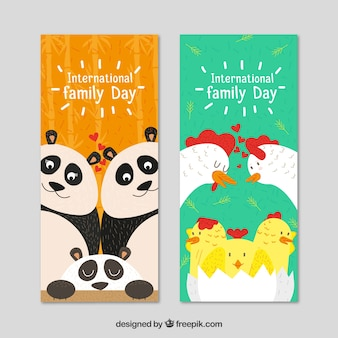 International day of families banners with cute animals