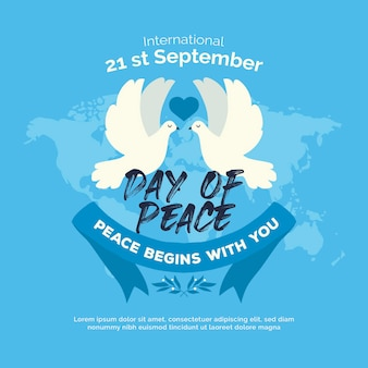 International day of peace with doves and world map