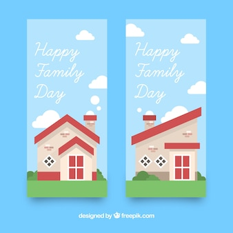 International family day banner with house in the morning