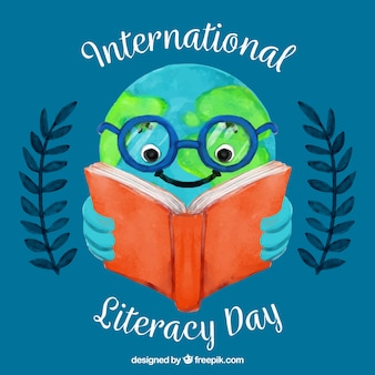 International literacy day background with world reading