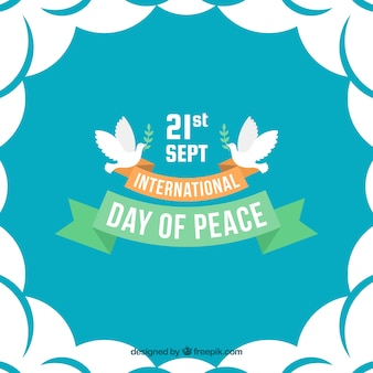International peace day background with pigeons and ribbons