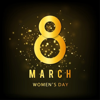 International women's day, black and gold background