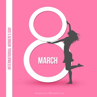 International womens day card in pink color