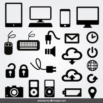 Internet monochrome icons set