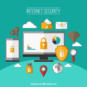 Internet security background in flat design