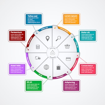 Internet Shopping Paper Infographics Template