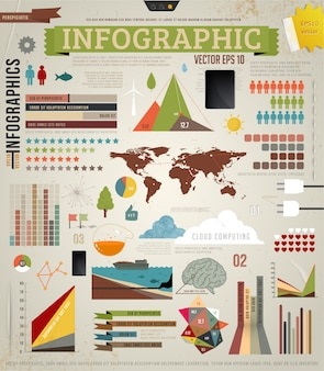 Internet template infochart bar infographic