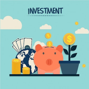 Investment background with piggy bank