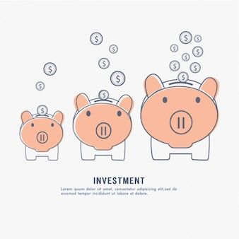 Investment background with three piggy banks